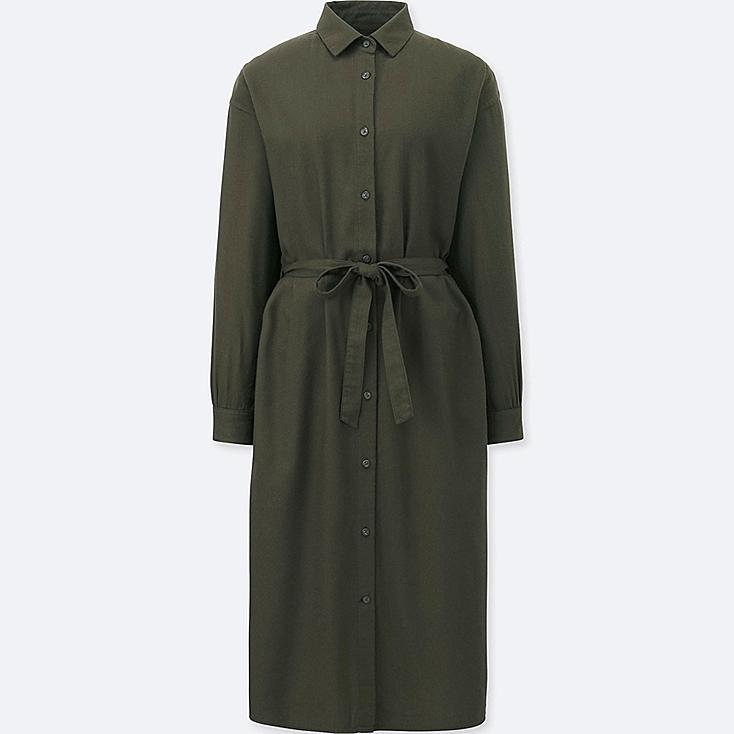 WOMEN FLANNEL LONG-SLEEVE SHIRT DRESS, OLIVE, large