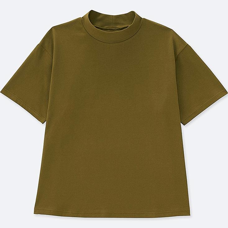 WOMEN OVERSIZE HIGH-NECK SHORT-SLEEVE T-SHIRT, OLIVE, large