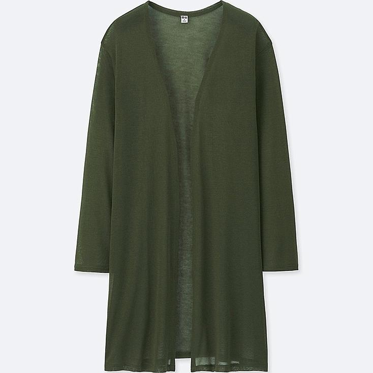 WOMEN LONG-SLEEVE LONG CARDIGAN, OLIVE, large
