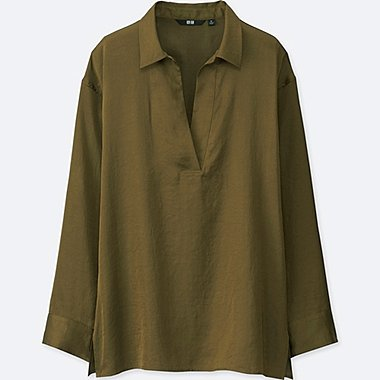WOMEN SATIN LONG-SLEEVE BLOUSE, OLIVE, medium
