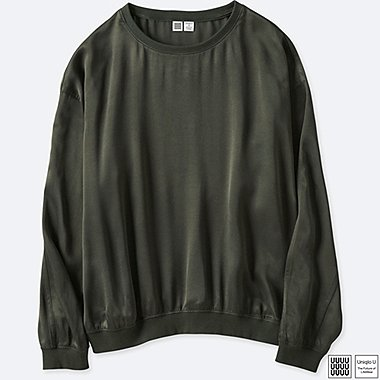 WOMEN UNIQLO U SATIN LONG SLEEVE T BLOUSE