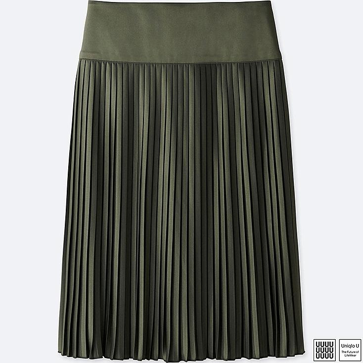 WOMEN U PLEATED MIDI SKIRT, OLIVE, large