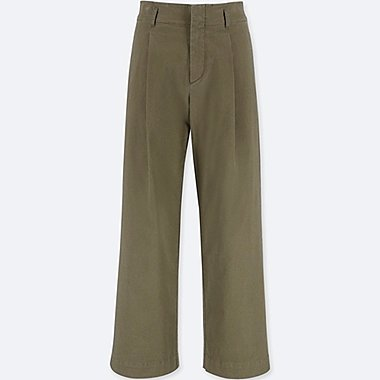 WOMEN HIGH WAIST CHINO WIDE LEG TROUSERS