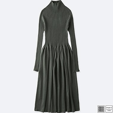WOMEN UNIQLO U 3D PRINTED MERINO RIBBED MOCK NECK DRESS