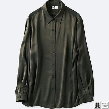 WOMEN UNIQLO U SATIN LONG SLEEVE BLOUSE