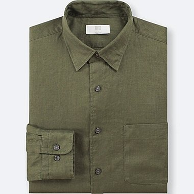 MEN PREMIUM LINEN LONG-SLEEVE SHIRT, OLIVE, medium