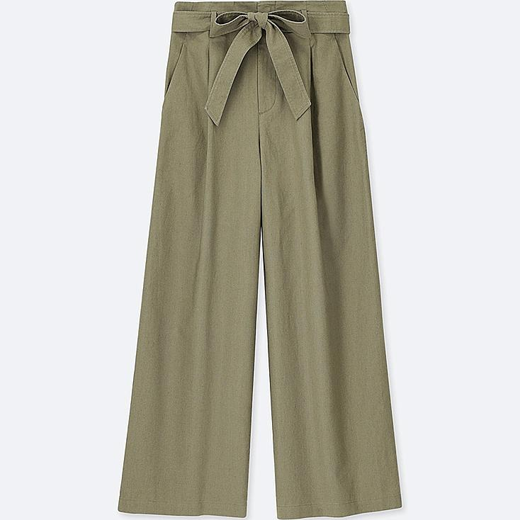 WOMEN BELTED LINEN COTTON WIDE PANTS at UNIQLO in Brooklyn, NY | Tuggl