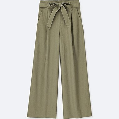 WOMEN BELTED LINEN COTTON WIDE PANTS, OLIVE, medium