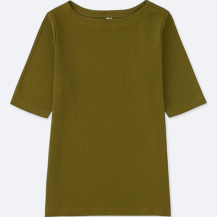WOMEN RIBBED BOAT NECK HALF-SLEEVE T-SHIRT, OLIVE, large