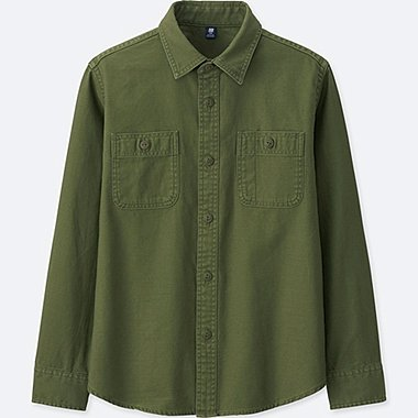 BOYS WORK SHIRT, OLIVE, medium