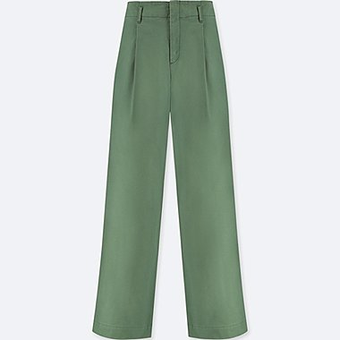 WOMEN HIGH WAIST CHINO WIDE LEG PANTS, OLIVE, medium