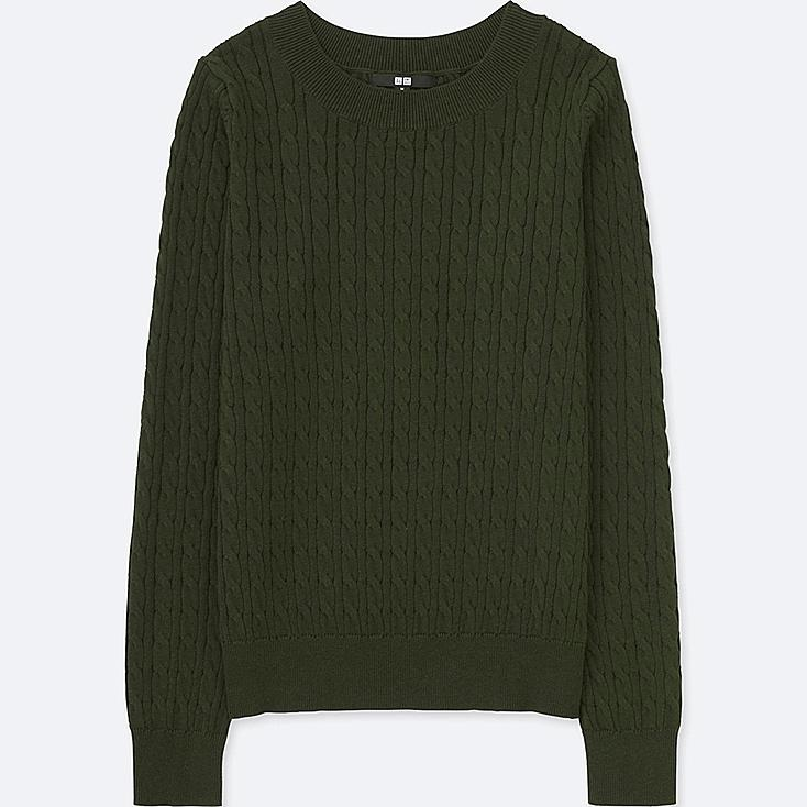 WOMEN COTTON CASHMERE CABLE BOAT NECK SWEATER | Tuggl