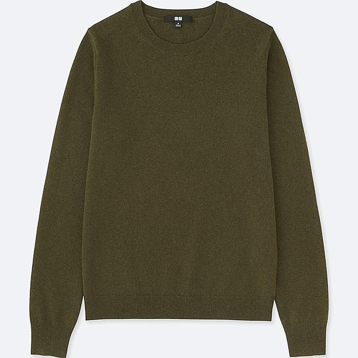 WOMEN CASHMERE CREW NECK SWEATER, OLIVE, large
