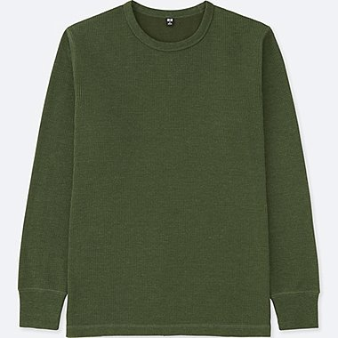MEN WAFFLE CREWNECK LONG-SLEEVE T-SHIRT, OLIVE, medium