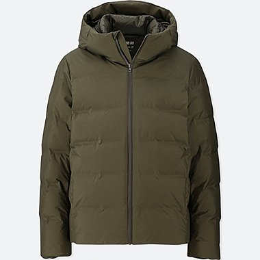 MEN SEAMLESS DOWN HOODED PARKA