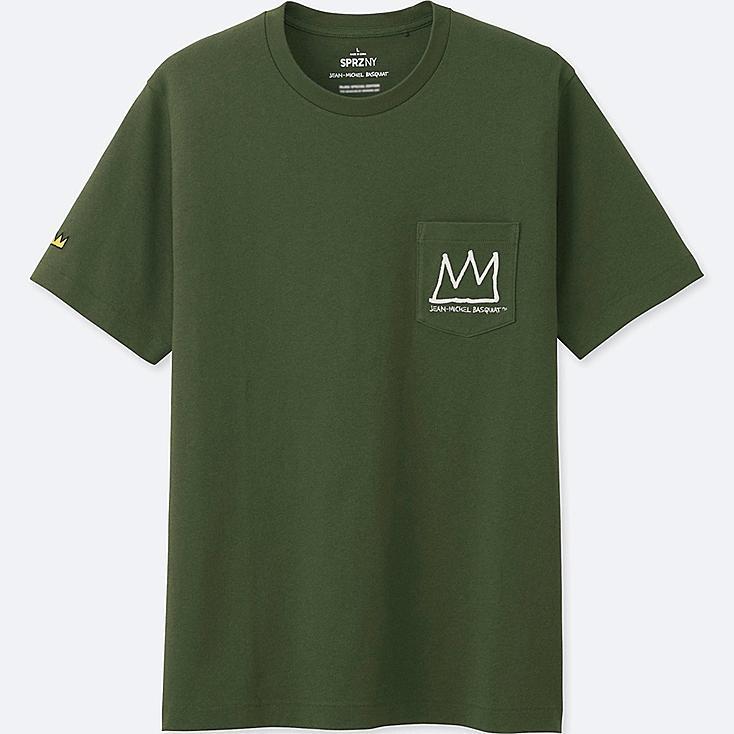 MEN SPRZ NY GRAPHIC T-SHIRT (JEAN-MICHEL BASQUIAT), OLIVE, large