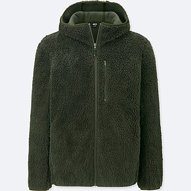 MEN WINDPROOF PILE-LINED FLEECE FULL-ZIP HOODIE (ONLINE EXCLUSIVE), OLIVE, medium