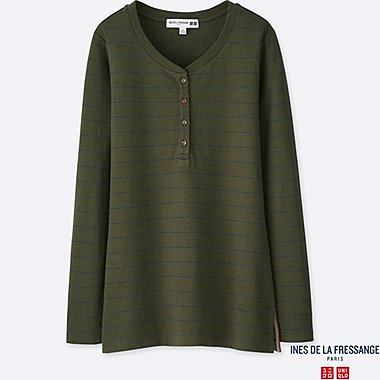 WOMEN DOUBLE FACE JERSEY HENLEY T-SHIRT (INES DE LA FRESSANGE), OLIVE, medium