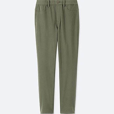 WOMEN CROPPED LEGGINGS PANTS, OLIVE, medium