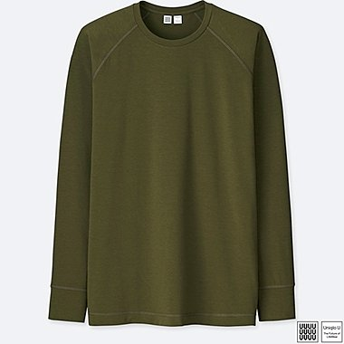 MEN U ULTRA STRETCH DRY CREWNECK LONG-SLEEVE T-SHIRT, OLIVE, medium
