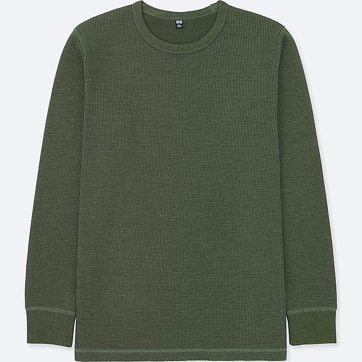 MEN WAFFLE CREW NECK LONG-SLEEVE T-SHIRT, OLIVE, large