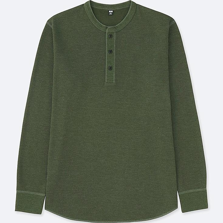 MEN WAFFLE HENLEY NECK LONG-SLEEVE T-SHIRT, OLIVE, large