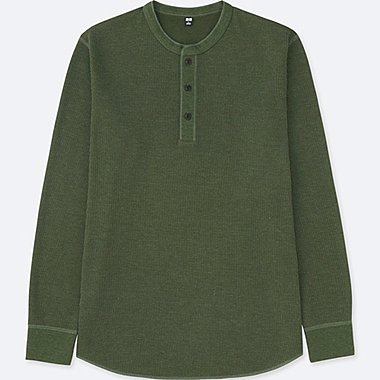 MEN WAFFLE HENLEY NECK LONG-SLEEVE T-SHIRT, OLIVE, medium