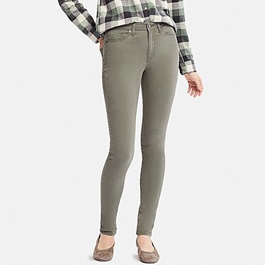 WOMEN EZY SKINNY FIT COLOR JEANS, OLIVE, medium