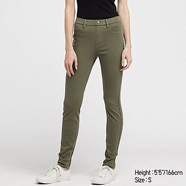 WOMEN ULTRA STRETCH LEGGINGS PANTS, OLIVE, medium