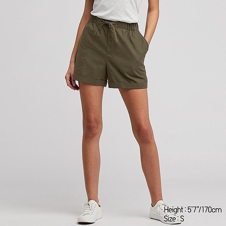 WOMEN LINEN COTTON RELAXED SHORTS, OLIVE, large