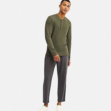 MEN ULTRA STRETCH LONG-SLEEVE WAFFLE SET, OLIVE, medium