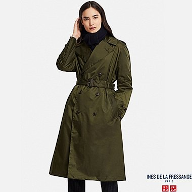 WOMEN NYLON TRENCH COAT (INES DE LA FRESSANGE), OLIVE, medium