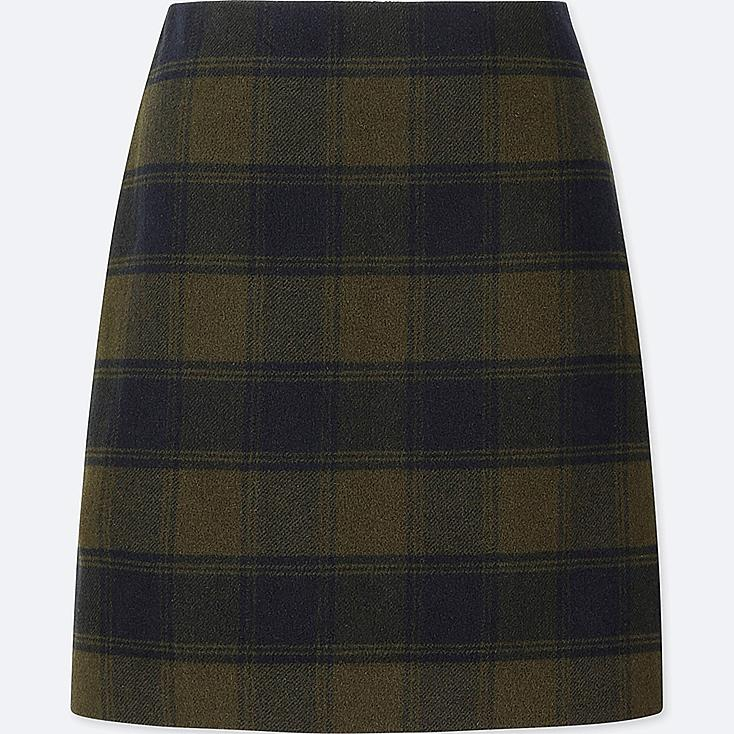 WOMEN WOOL-BLEND HIGH-WAISTED MINI SKIRT, OLIVE, large