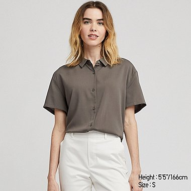 WOMEN RAYON SHORT-SLEEVE BLOUSE, OLIVE, medium