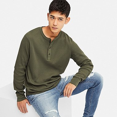 MEN WAFFLE KNIT HENLEY NECK LONG SLEEVED T-SHIRT