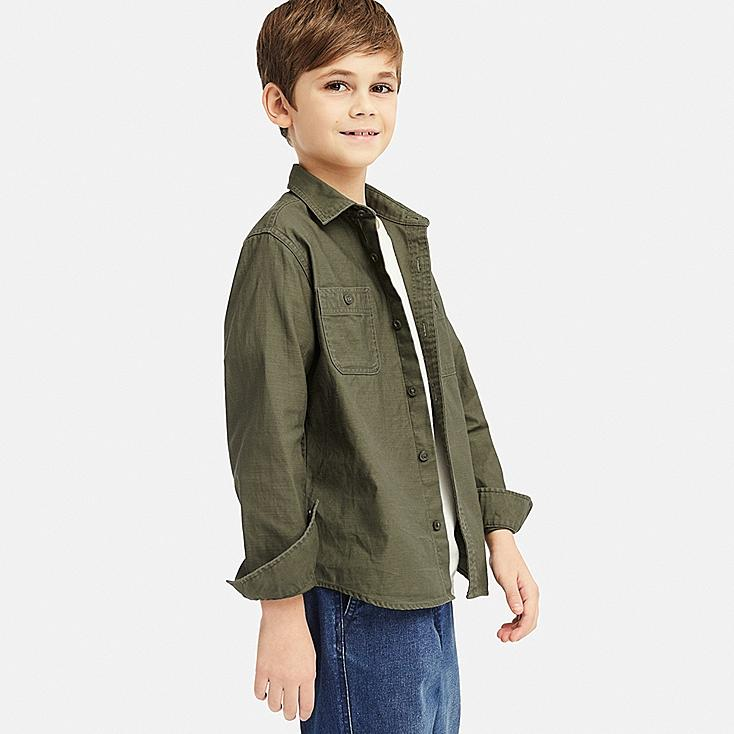 KIDS WORK LONG-SLEEVE SHIRT, OLIVE, large