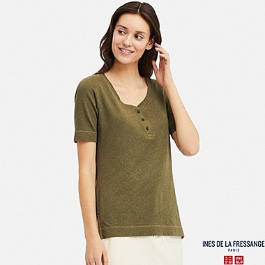 WOMEN LINEN BLEND HENLEY NECK SHORT-SLEEVE T-SHIRT (INES DE LA FRESSANGE), OLIVE, medium