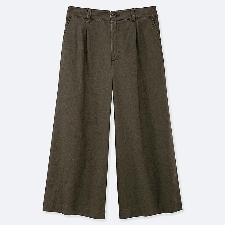 WOMEN LINEN COTTON WIDE CROPPED PANTS, OLIVE, large
