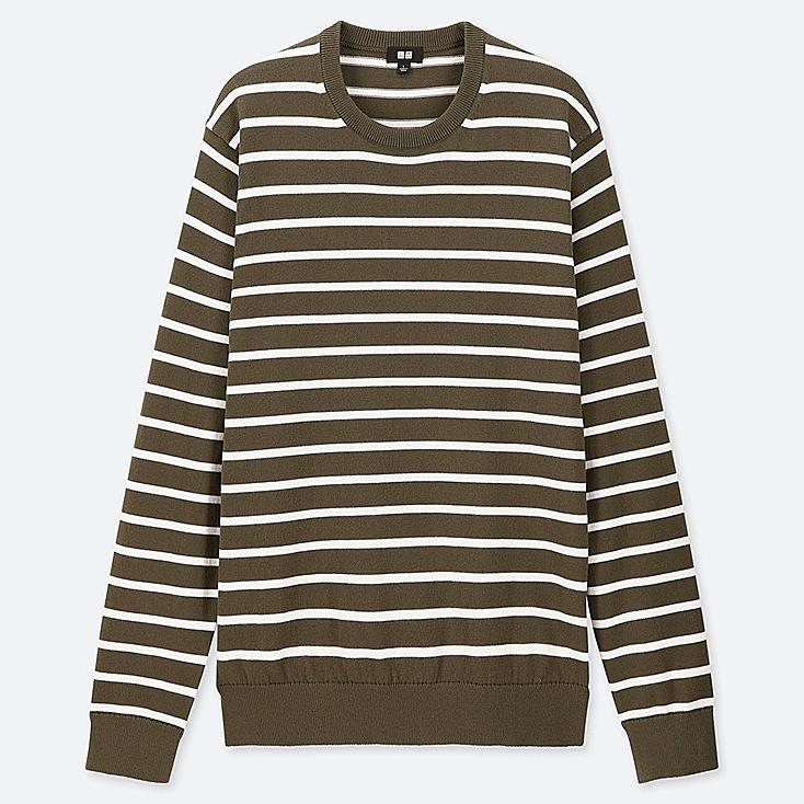 MEN SUPIMA® COTTON STRIPED CREW NECK SWEATER, OLIVE, large