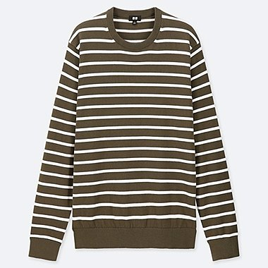MEN SUPIMA® COTTON STRIPED CREW NECK SWEATER, OLIVE, medium