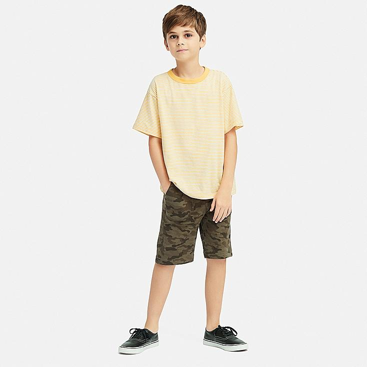 BOYS JERSEY EASY SHORTS, OLIVE, large
