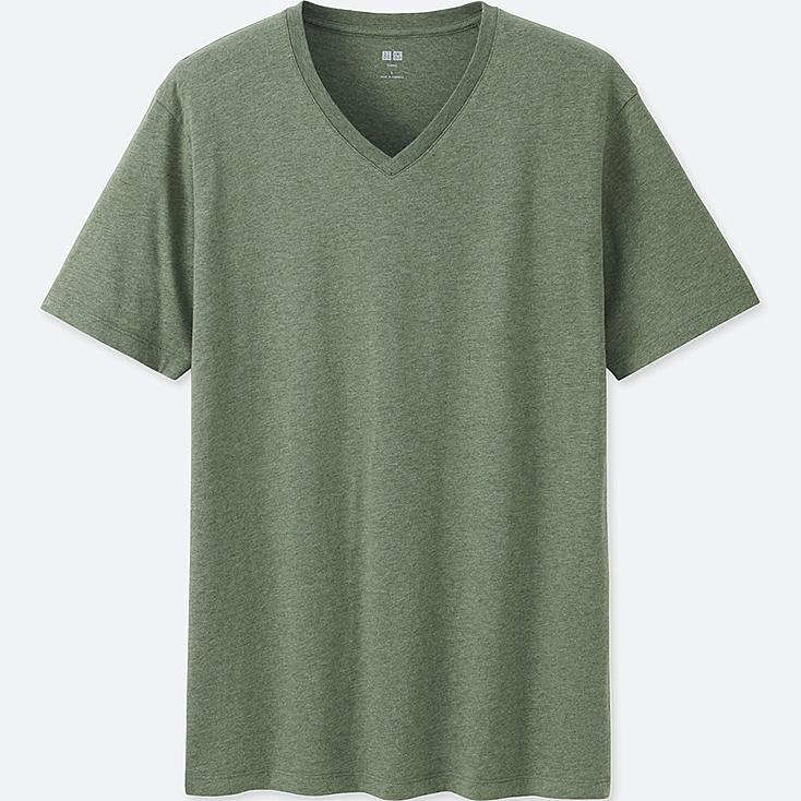 Men Supima® Cotton V-Neck T-Shirt, DARK GREEN, large