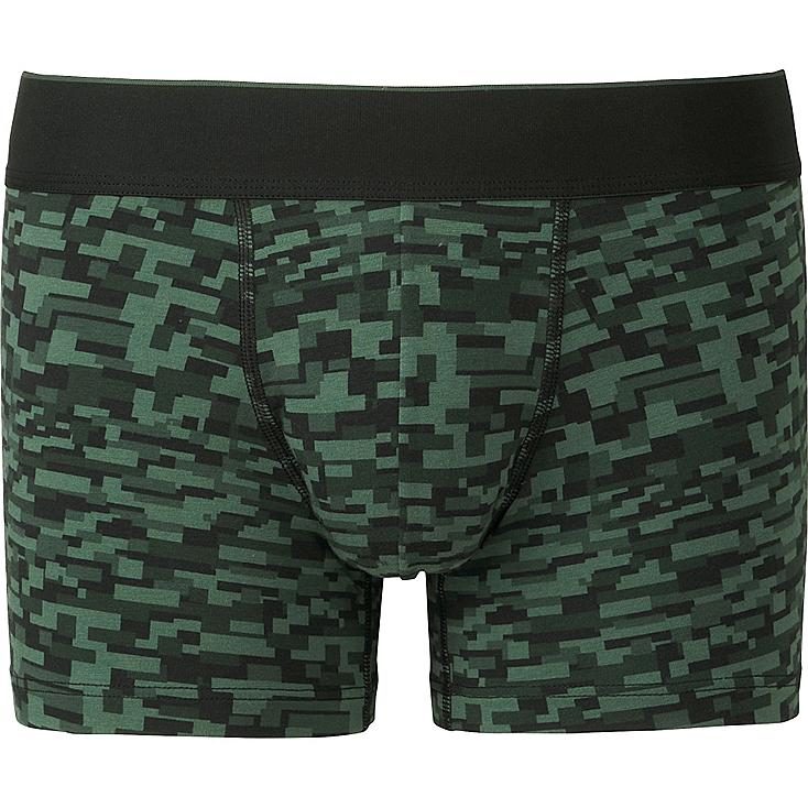 MEN Supima® COTTON BOXER BRIEFS (LOW RISE), DARK GREEN, large
