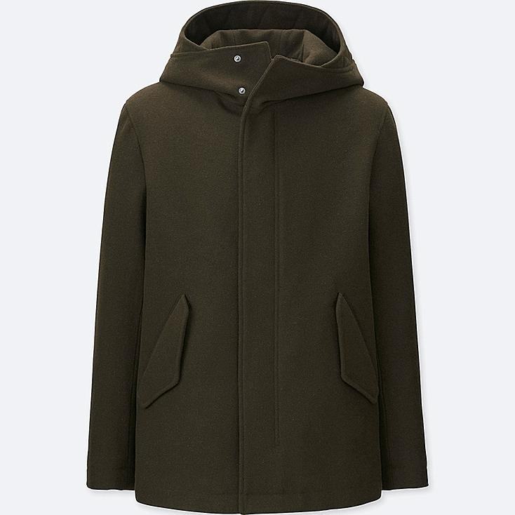 MEN WOOL BLEND PARKA, DARK GREEN, large