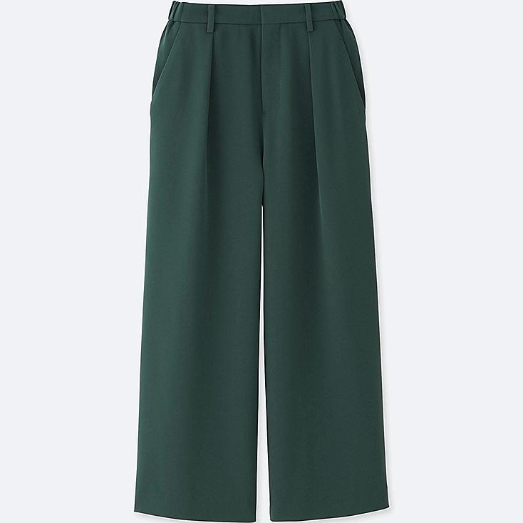 WOMEN DRAPE WIDE LEG TAPERED ANKLE PANTS, DARK GREEN, large