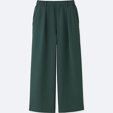 WOMEN DRAPE WIDE LEG TAPERED ANKLE PANTS, DARK GREEN, medium