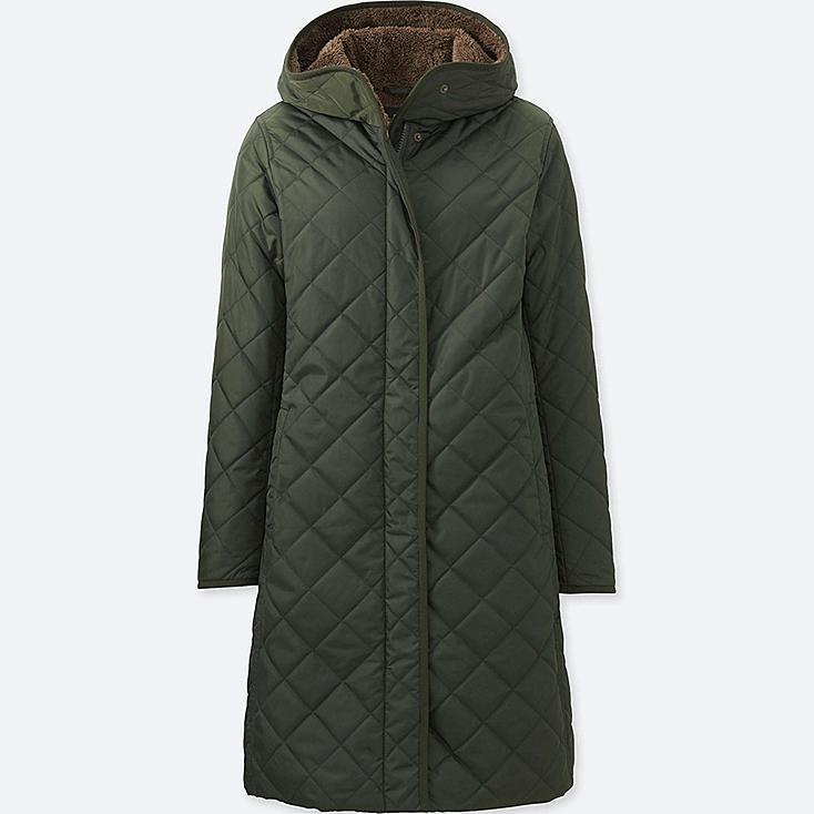 WOMEN WARM PADDED COAT, DARK GREEN, large