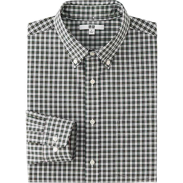MEN EXTRA FINE COTTON BROADCLOTH CHECKED LONG SLEEVE SHIRT, DARK GREEN, large