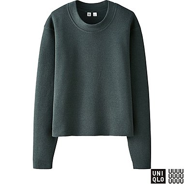 WOMEN U MILANO RIBBED CREWNECK SWEATER, DARK GREEN, medium