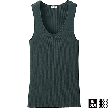 WOMEN U CASHMERE RIBBED SLEEVELESS TOP, DARK GREEN, medium
